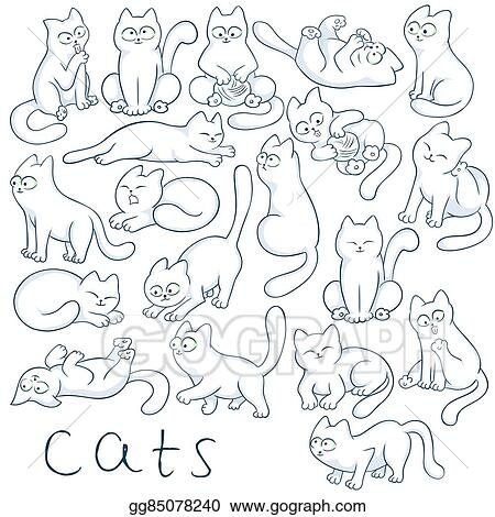 vector stock  vector hand drawn set of cats in different