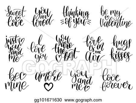 Vector Stock Vector Hand Lettering Phrases Take My Heart Hugs And
