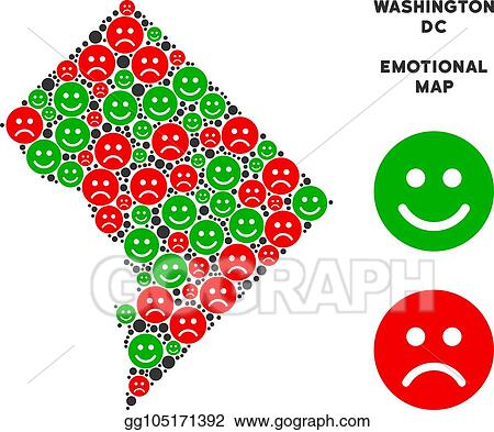Vector Art Vector Happiness Washington Dc Map Collage Of Smileys