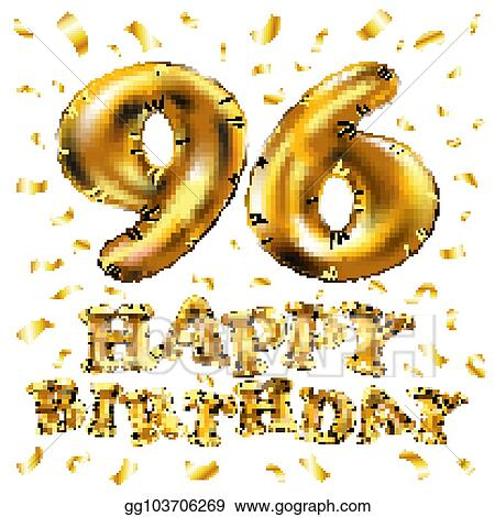 Eps Vector Vector Happy Birthday 96th Celebration Gold
