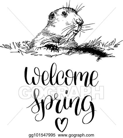 Vector illustration vector happy groundhog day sketched vector happy groundhog day sketched illustration with hand lettering february 2 greeting card poster etc m4hsunfo