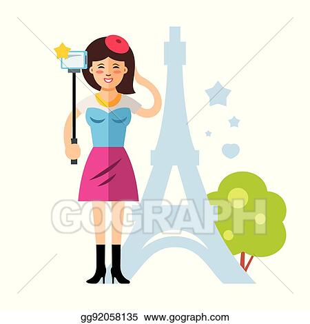 Vector Illustration Vector Happy Young Woman Taking A Selfie With Mobile Phone In Paris France Flat Style Colorful Cartoon Illustration Stock Clip Art Gg92058135 Gograph