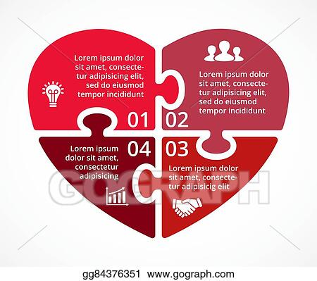 eps illustration vector heart circle puzzle infographic template