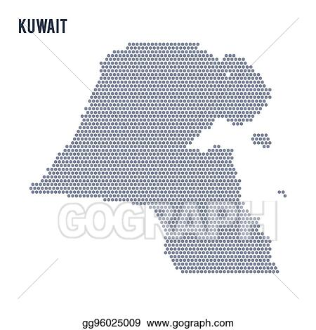 EPS Vector - Vector hexagon map of kuwait on a white background