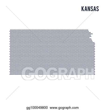 Vector Stock - Vector hexagon map of state of kansas on a white