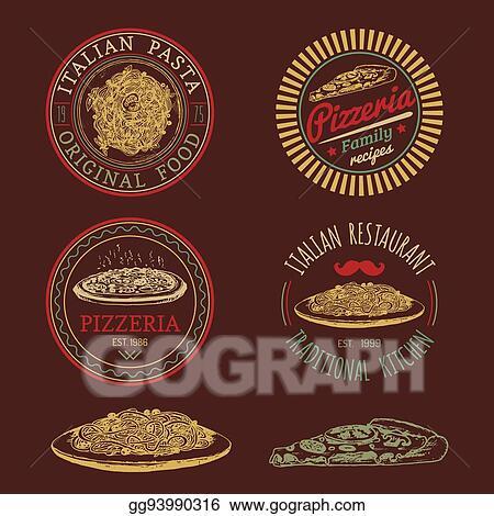 Vector Stock Vector Hipster Italian Food Logos Modern