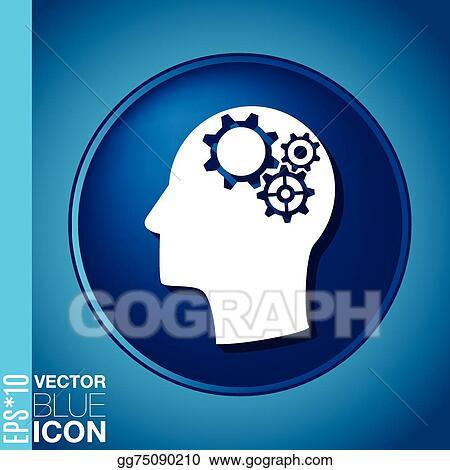Vector Stock - Vector icon head think silhoutte vector man
