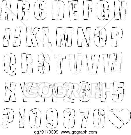Number Names Worksheets dot to dot letters and numbers : Vector Art - Vector illustration black polka dot spotted alphabet ...