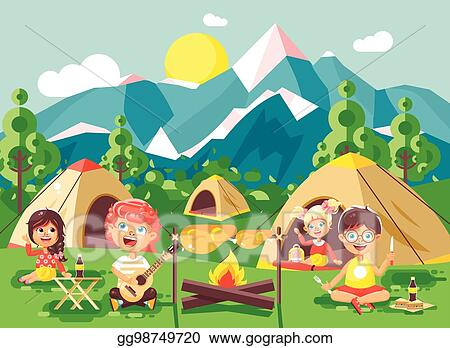 Girl Scout Camping Clipart EPS Illustration - Vec...