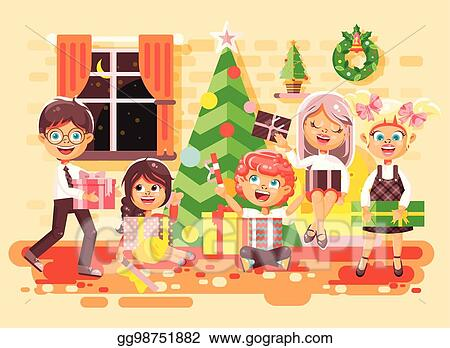 Eps Illustration Vector Illustration Cartoon Characters Children Boys And Girls In Room Under Christmas Tree Happy New Year And Christmas Give Gifts Rejoice And Celebrate Flat Style Element For Motion Design Play these cartoons on youtube, curl up on the sofa, and forget all your worries. https www gograph com clipart license summary gg98751882