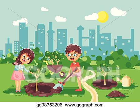 Vector Illustration Vector Illustration Cartoon Characters Of Children Boy And Girl Dig Hole In Ground For Planting In Garden Seedlings Of Tree Watering Water From Geek Taking Care Of Ecology City
