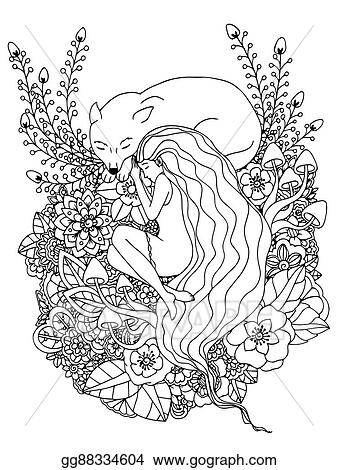 Vector Illustration E Girl And The Wolf Sleeping In Flowers Doodle Drawing Meditative Exercises Coloring Book Anti Stress For Adults Black White