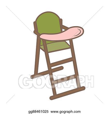 Vector Art Vector Illustration Green Baby Chair For Feeding