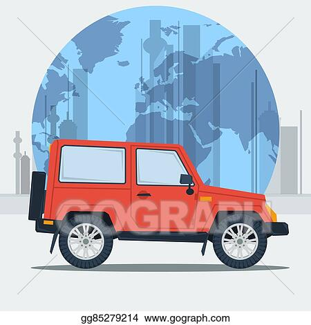 Vector Art Vector Illustration Jeep Car On Town Background