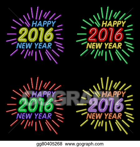 vector illustration of 2016 new year outline neon light background for design website banner holiday party element template