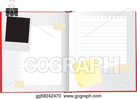 Drawing Vector Illustration Of A Open Sketchbook Or Scrapbook