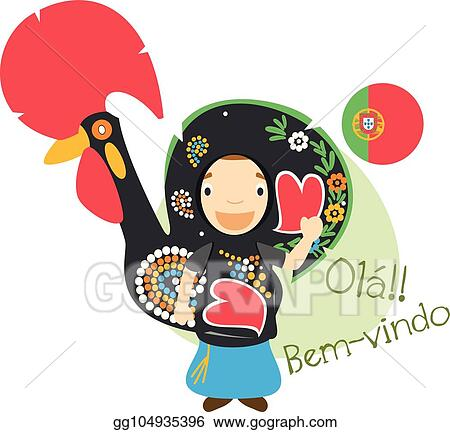 Vector Illustration Vector Illustration Of Cartoon Character Saying Hello And Welcome In Portuguese Stock Clip Art Gg104935396 Gograph