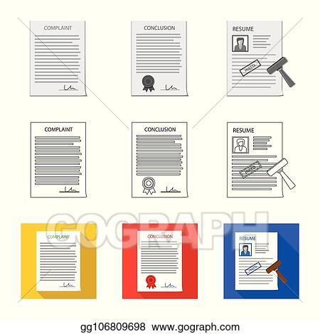 Vector Art - Vector illustration of form and document sign  set of