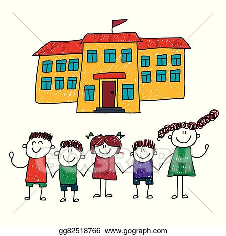 vector clipart vector illustration of happy students vector rh gograph com