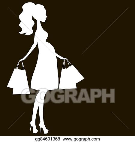 Vector Clipart - Vector illustration of modern pregnant
