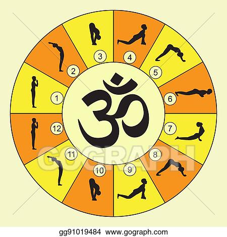 clip art vector  vector illustration of yoga exercise sun