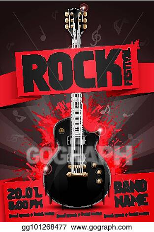 Eps Illustration Vector Illustration Red Rock Festival Party Flyer Design Template With Guitar Origami Banner And Cool Splash Effects In The Background Vector Clipart Gg101268477 Gograph