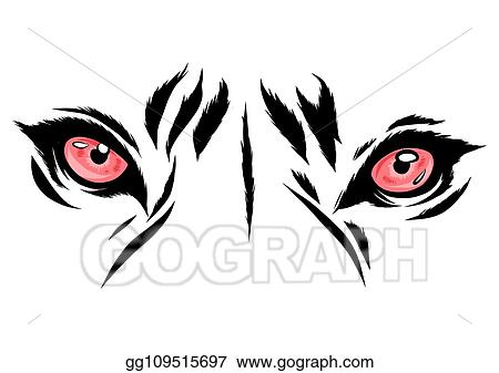 Vector Art Vector Illustration Tiger Eyes Mascot Graphic In White