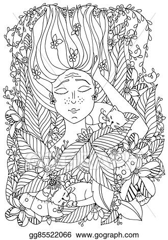 Vector Illustration Zentangl Girl Child Freckles Is Sleeping With Cats In Flowers Doodle Drawing Bloom Forest Garden Coloring Book Anti Stress For