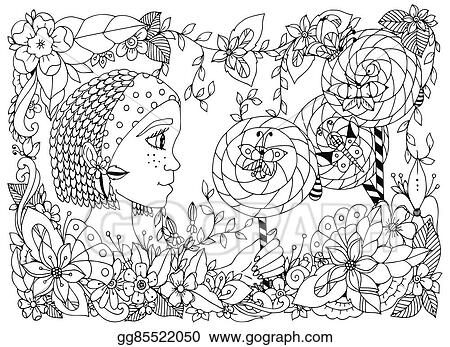 Vector Illustration Zentangl Girl Child With Freckles Holding A Lollipop Doodle Frame Flower Butterfly Garden African Braids Coloring Book Anti Stress