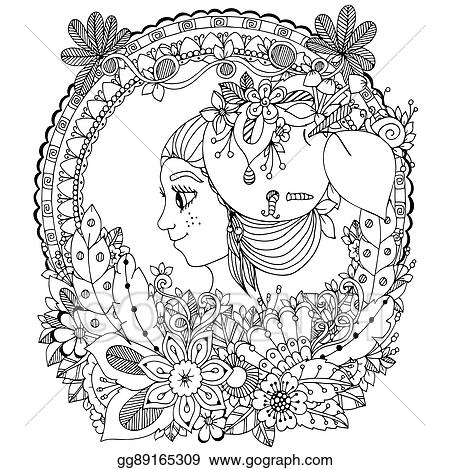 Vector Illustration Zentangl Girl In The Floral Frame Circle Doodle Drawing Coloring Book Anti Stress For Adults Black And White