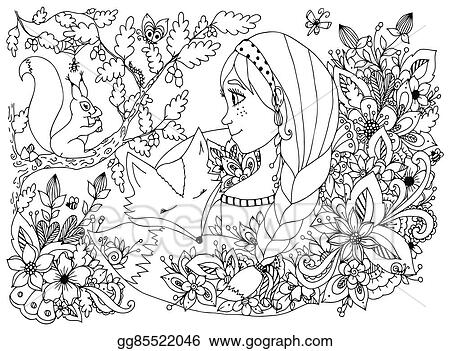 Vector art vector illustration zentangl girl with freckles looking freckles looking at the squirrel sleeping face in flowers cartoon child forest dwellers doodle coloring book anti stress for adults black white mightylinksfo