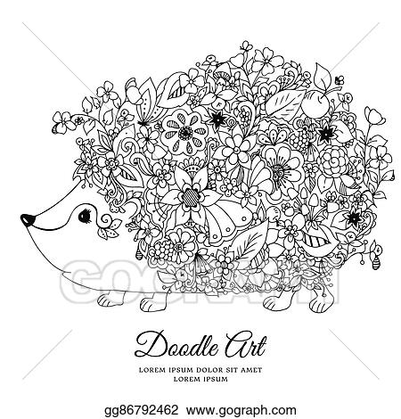 Vector Illustration Zentangl Hedgehog With Flowers Doodle Animal Forest Nature Puddle Coloring Book Anti Stress For Adults Black And White