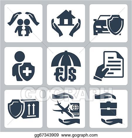 vector insurance icons set family insurance home insuranceauto insurance life insurance deposit insurance insurance policy insurance of goods