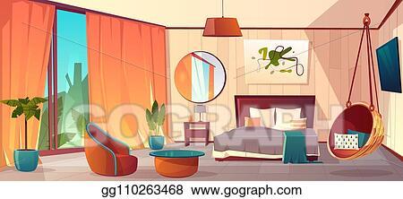 Vector Clipart Vector Interior Of Hotel Bedroom Winter Resort Vector Illustration Gg110263468 Gograph