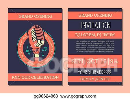 vector art vector invitation card template for karaoke music club