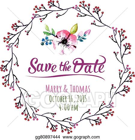 Eps Illustration Vector Invitation Card With Watercolor
