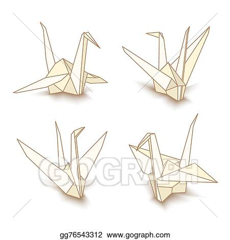 Vector Art Vector Isolated Origami Paper Crane Clipart Drawing