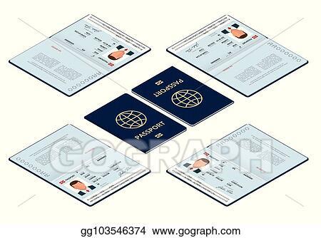 Vector Art - Vector isometric blank open passport template