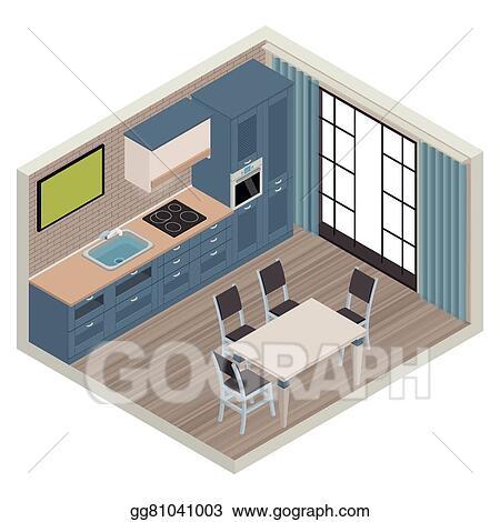 Eps Vector Vector Isometric Kitchen Interior Stock Clipart