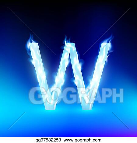 Eps Illustration Vector Letter With Blue Fire Vector Clipart