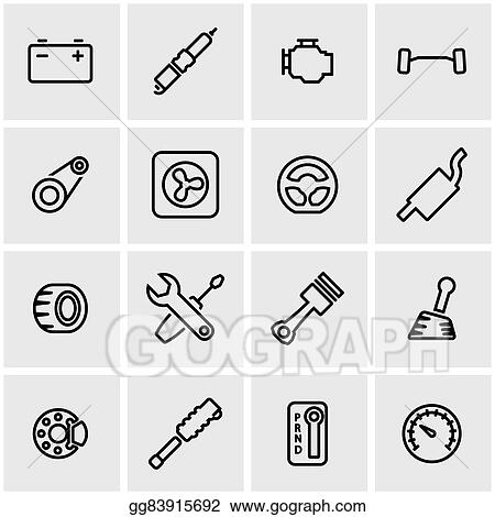 Vector Art - Vector line car parts icon set. Clipart Drawing ...