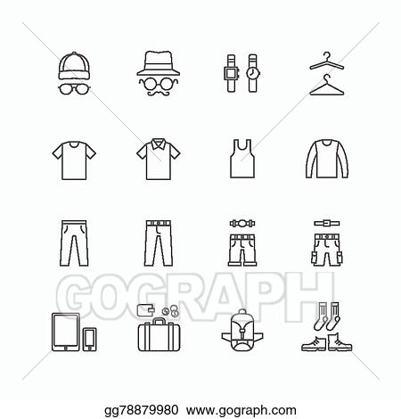 Vector Illustration Vector Linear Web Icons Set Man Clothing Store Collection Of Flat Line Design Elements Stock Clip Art Gg78879980 Gograph