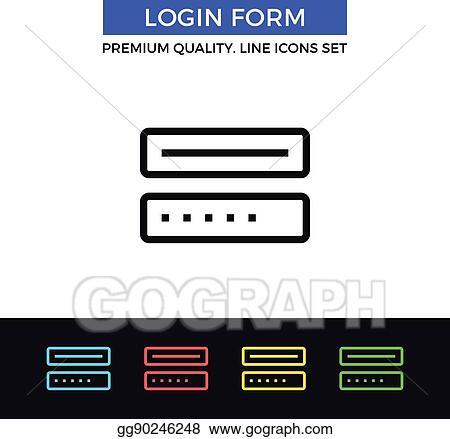 Vector Clipart - Vector login form icon  thin line icon  Vector