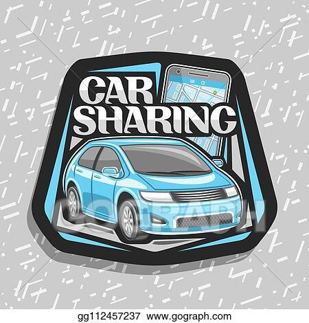 Eps Illustration Vector Logo For Car Sharing Vector Clipart