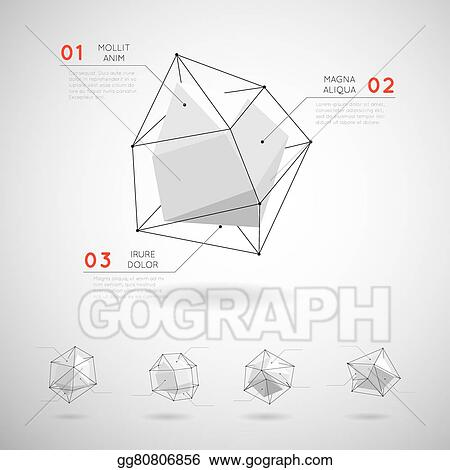 Vector Art - Vector low poly polygonal geometric shapes