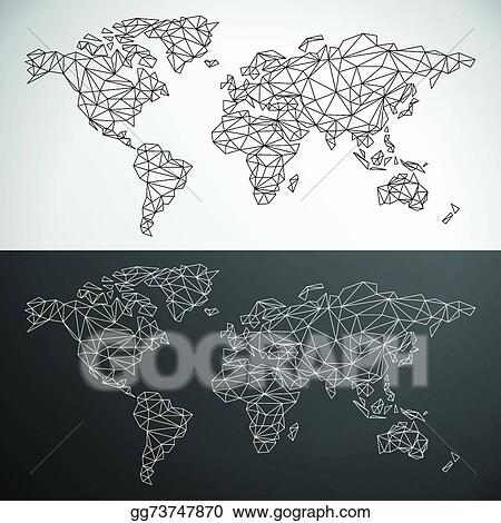 Eps illustration vector low poly world map outline vector clipart vector low poly world map outline gumiabroncs