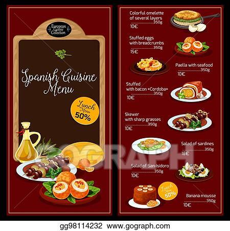 spanish restaurant menu template