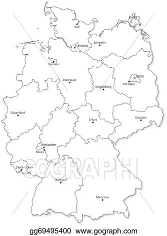 Vector Illustration Vector Map Of German States With Cites On - Germany map drawing