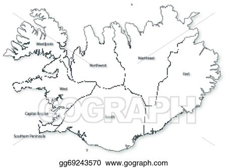 Vector Clipart - Vector map of iceland with regions. Vector ...