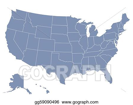 Eps Illustration Vector Map Of The United States Of America Each